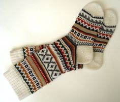 Scandinavian pattern rustic autumn fall winter knit knee-high wool socks $40.00, via Etsy.