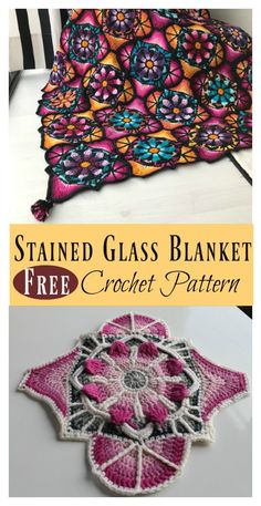 Stained Glass Flowers Afghan Blanket Free Crochet Pattern – Your CrochetStained glass crochet flowers blanket contains 36 amazing tiles. You need choose at least two strong color combinations to get this fabulous effect.The Best Crochet Afghans of April Crochet Squares, Crochet Square Patterns, Crochet Blanket Patterns, Crochet Motif, Crochet Flowers, Knitting Patterns, Crochet Afghans, Crochet Blankets, Granny Squares