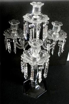 Fostoria very tall vintage crystal candelabra - three arms Candlestick Holders, Candlesticks, Crystal Candelabra, Fostoria Glass, Beautiful Candles, Milk Glass, Vases, Glass Vase, Pottery