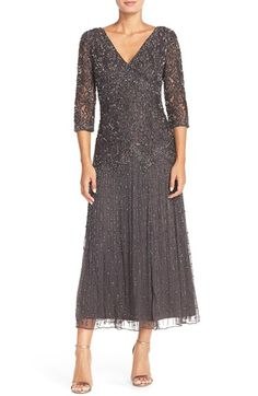 What do you think of the color? The back may be a little low. Pisarro Nights Beaded Mesh Drop Waist Dress (Regular & Petite) available at #Nordstrom