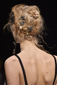 """glamour: """"Embellished hair at Alexander McQueen fall 2016. Photo: Getty Images """""""