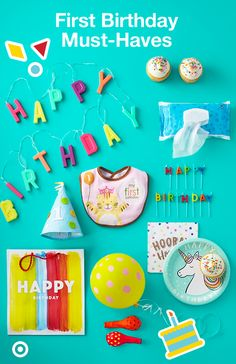 """Hip hip hooray! It's Baby's first birthday! Celebrate in style with the sweetest decorations and party favors, from festive """"Happy Birthday"""" lights, balloons and candles to must-have plates, napkins, gift bags and baby wipes. Baby wipes? Yes! They'll seriously come in handy for the aftermath once your little one discovers the fun, excitement and flavor of cake! They make for a quick cleanup before the bath is ready."""