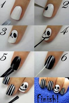 Nightmare Before Christmas Jack Skellington nails for Halloween.fun for Halloween Holiday Nail Designs, Nail Art Designs, Nails Design, Disney Nail Designs, Acrylic Nail Designs, Henna Designs, Nightmare Before Christmas Nails, Nail Art Halloween, Halloween Jack