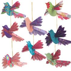Handmade Paper Bird Ornaments. Ideal for the tree or for year-round decor.