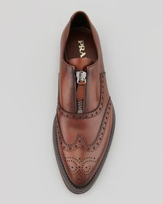 Prada Runway Lug-Sole Zip Wing-Tip, Brown.
