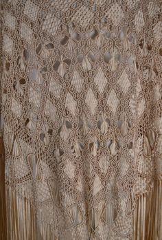 Antique Shawl Fringe Shawl 1920's Shawl by BuffaloGalVintage