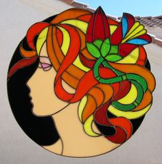 Stained Glass Girl with Flower in Hair 769 Stained Glass Suncatchers, Stained Glass Designs, Stained Glass Panels, Stained Glass Projects, Stained Glass Patterns, Stained Glass Art, Mosaic Glass, L'art Du Vitrail, Picture Wire