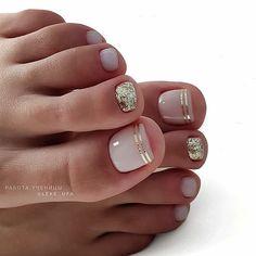 35 Ideas For Gel Pedicure Designs Toenails Pretty Toe Nails, Cute Toe Nails, Gel Toe Nails, Gel Toes, Acrylic Nails, Toe Nail Polish, Shellac Toes, French Nail Polish, Glitter Toe Nails