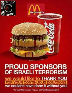 Shame on us for every sip of coke or every bite of a mcdonalds meal that has passed our lips #GazaUnderAttack
