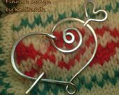 Hammered HEART BROOCH, Hair Pin or Shawl Pin For Scarf made with Aluminum Wire - A touch of LOVE to your look - Etsy - Kedikekik