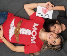 Women's Mom Santa T Shirt Holiday Pajama Shirt Matching Christmas Pajamas Santa Costume Tee Fun Kris Kringle Christmas Eve Shirt