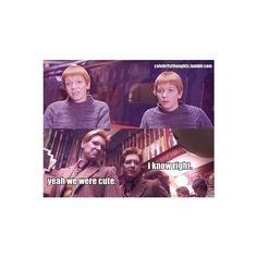 LOL! The Weasley Twins Harry Potter Tumblr ❤ liked on Polyvore