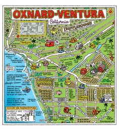 Fun illustrative map of Oxnard and Ventura from Fun Maps USA.