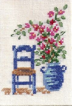 Flower and a chair cross stitch. Simple Cross Stitch, Cross Stitch Borders, Cross Stitch Flowers, Cross Stitch Designs, Cross Stitching, Cross Stitch Embroidery, Hand Embroidery, Cross Stitch Patterns, Easy Cross