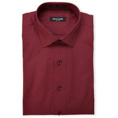Pierre Cardin Burgundy Slim Fit Dress Shirt ($14) ❤ liked on Polyvore featuring men's fashion, men's clothing, men's shirts, men's dress shirts, red, mens cotton shirts, mens slim fit shirts, mens burgundy shirt, mens slim fit dress shirts and mens burgundy dress shirt