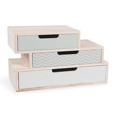 Boîte 3 tiroirs en bois L 30 cm NOLITA | Maisons du Monde