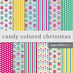 Candy Colored Christmas Digital Scrapbooking Paper