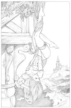 Raiponce  / Rapunzel #disney #princesse #deviantart #hot Coloring Sheets, Coloring Books, Free Coloring, Adult Coloring Pages, Colouring, Art Pages, White Art, Pencil Art, Colorful Drawings