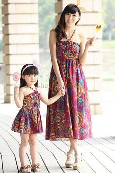 Summer Family Dresses Clothing 2015 Spaghetti Strap Beach Bohemia Mother And Daughter Matching Clothes Dress Mom Baby Floral Print Maxiskit Couple Matching Shirts Matching Outfits For Brothers From Shell_case, $12.66| Dhgate.Com