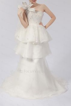 Organza One Shoulder Sweep Train Ball Gown Wedding Dress with Crystal - Focus Vogue