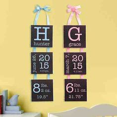 A Personal Creations Exclusive! A creative way to display your little ones birth information.