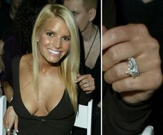 Jessica Simpson: Jessica Simpson's engagement ring from Nick Lachey, which he gave her in 2001, was a four-carat pear-shaped diamond with two side stones.