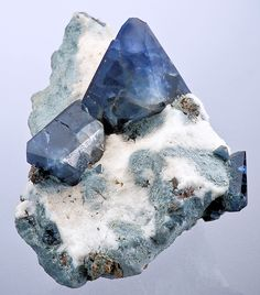 Benitoite on snowy-white Natrolite from Dallas Gem Mine, New Idria District, Diablo Range, San Benito County, California