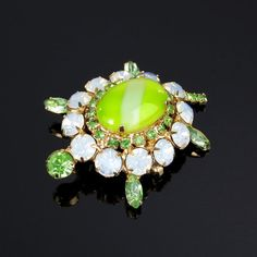 Vintage Turtle Pin Lime Green Art Glass by ClarasChicBoutique