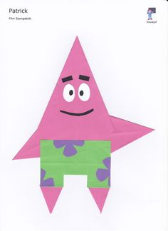Patrick - 16 vierkantjes en vlieger Spongebob, Origami, Shapes, Website, Drawings Pinterest, Sponge Bob, Origami Paper, Origami Art