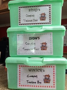 Camping Treasure Boxes ~made from Baby Wipes containers (Kids can put whatever treasures they deem worthy inside (rocks, twigs, leaves, etc.) or can be used in conjunction with a Scavenger Hunt :-)