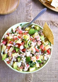 Pineapple Shrimp Ceviche - An easy and healthy appetizer that you don't even have to cook! | Foodfaithfitness.com | #recipe #appetizer #shrimp