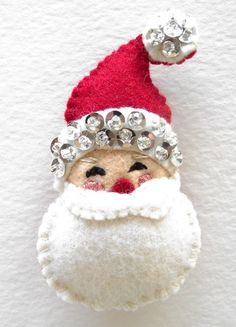 """Felt and Sequin Ornaments Week 5 – Santa - - I am thrilled that Sarah of """"Thrift Store Crafter"""" is sharing her weekly series with us with her delightful Christmas crafts with complete tutorials. This week is the big guy himself her """"…. Felt Christmas Decorations, Felt Christmas Ornaments, Santa Ornaments, Handmade Ornaments, Handmade Christmas, Christmas Fun, Christmas Projects, Felt Crafts, Holiday Crafts"""
