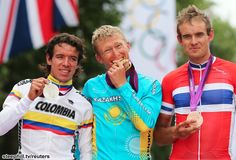London Olympics Photos; Stage 1: Men's Road Race - The unexpected podium: 2nd Rigoberto Uran Uran (Colombia), 1st Alexandr Vinokurov (Kazakhstan) 5:45:57, 3rd Alexander Kristoff (Norway) + 8s.
