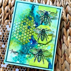 SewPaperPaint Bee Images, Tim Holtz Stamps, Crazy Bird, Green Watercolor, Honeycomb, Stencil Designs, Ink Pads, Stencils, Card Making
