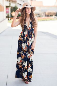 All For You Self Tie Open Back Strappy Slit Detail Floral Maxi (Navy)