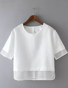 White Short Sleeve Sheer Plaid Crop Blouse