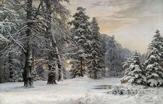 Artwork by Anders Andersen-Lundby, Wintry landscape at early morning, Made of Oil in canvas