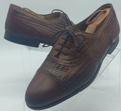 MEZLAN MARTINIQUE Brown Woven full $$ Brogue Captoe Oxford Shoes 10.5  #Mezlan #DressShoes