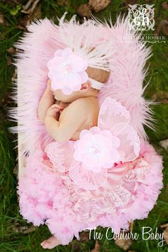 Baby Pink Sequin Vintage Butterfly Wings by CoutureBabyHeadbands, $34.99