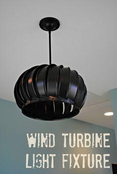 Wind Turbine Light Fixture Tutorial - So You Think You're Crafty - or this? Wind Turbine Light Fixture Tutorial - So You Think You're Crafty - or this? Rustic Lighting, Unique Lighting, Home Lighting, Lighting Ideas, Wall Lighting, Industrial Lighting, Industrial Light Fixtures, Garage Lighting, Modern Industrial