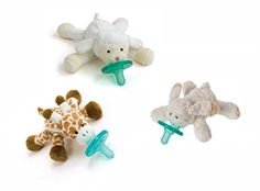 Wubbanub Infant Pacifier, 3 Pack - Bunny, Lamb & Giraffe