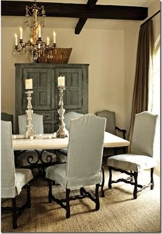 A House Romance: Joni Webb Talks Cote de Texas Decor, Modern Dining, House Design, Home, Dining Room Design, Dining Chair Covers, House Interior, French Style Interior, Dining Chairs