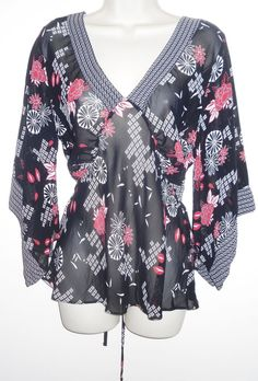 New Look Ladies Sheer Kimono Tunic Top 16 Red Black Oriental Floral Boho Summer