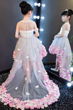 Beautiful Tea-length Tulle Dress With Bow Sash Dresses Kids Girl, Girls Party Dress, Wedding Party Dresses, Baby Dress, Kids Outfits, Kids Gown, Kids Frocks, Dress With Bow, Flower Dresses