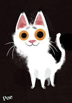 A cat named Poe by Frann Preston-Gannon © 2012 I Love Cats, Crazy Cats, White Cats, Cat Drawing, Cute Illustration, Illustrations, Cat Art, Kitsch, Cats And Kittens