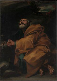 The Tears of Saint Peter Jusepe de Ribera (called Lo Spagnoletto) (Spanish, Játiva 1591–1652 Naples) Date: ca. 1612–13 Medium: Oil on canvas Dimensions: 63 3/4 x 45 in. (161.9 x 114.3 cm)
