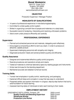 Resume Sample: Production Supervisor/Manager
