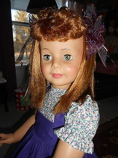 PATTI PLAYPAL IN SCHOOL DRESS IN PURPLE . CURLY BANGS 1959/62 BY IDEAL DOLL CORP
