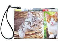 Small wristlet for cat lovers Free standard shipping Upcycling by Milo ** Click image for more details. Handmade Handbags, Handmade Bags, Blue Jean Purses, Kitten Images, Recycled Gifts, Vegan Wallet, Sewing Basics, Zipper Bags, Wallets For Women