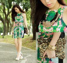Urban Dressing (by Kryz Uy) http://lookbook.nu/look/4059050-Urban-Dressing-Urban-Dressing-Dress-Island-Girl-Necklaces-Sm-Acc-Belt-Call-It-Spring-Heels